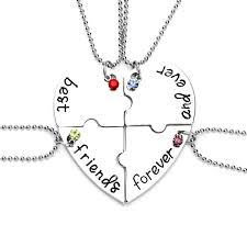 puzzle necklace images Best friends forever and ever bff necklaces 4 pcs beads chain jpg