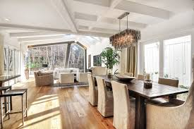 rectangular chandelier dining room contemporary with dark wood