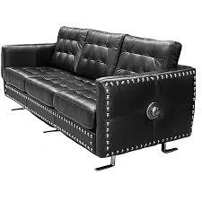 canapé cuir noir 3 places canapé rock 3 places en cuir noir à clous m nrsofa2 c2