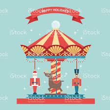 christmas carousel christmas carousel flat vector illustration stock vector