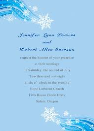 Wedding Invitation Card Sample In Printable Elegant Snowflake Blue Winter Beach Wedding Invitation