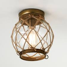Nautical Ceiling Light Jute Rope Lattice Aged Brass Finish Hardware Clear Glass Globe