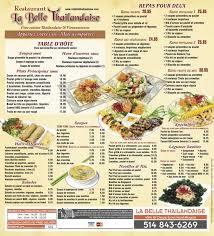 de cuisine thailandaise restaurant montreal la thailandaise menu page 1