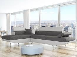 canape angle bi matiere canapé d angle en simili cuir et tissu gauche blanc gris