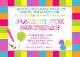 diy candy shoppe birthday party printable invitation 5x7 4x6