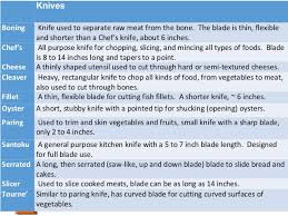 types of kitchen knives and their uses ca1 ch 5 notes