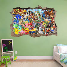 super smash bros mario smashed wall decal graphic sticker art super smash bros mario smashed wall decal graphic sticker art mural ebay