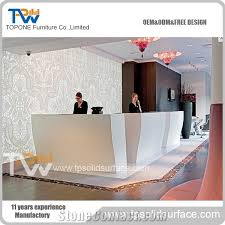 White Gloss Reception Desk Factory Direct Supply White Artificial Marble Stone High Gloss