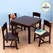 Outdoor Table And Chair Set Amazon Com Melissa U0026 Doug Solid Wood Table And 2 Chairs Set