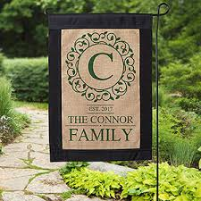 personalized monogram burlap garden flag circle vine