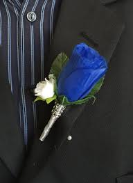 royal blue boutonniere boutonniere royal blue and mini white boutonniere with gray