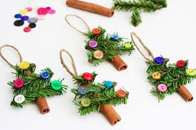 tree ornaments made with cinnamon sticks pine garland buttons