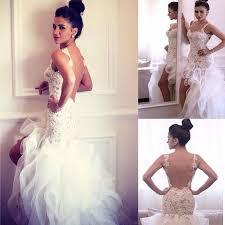 Custom Made Wedding Dresses 2015 High Low Wedding Dresses Mermaid Cascading Ruffle Tiers