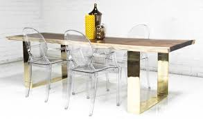 Sustainable Dining Table Brass U Leg Eco Slab Clear Dining Table