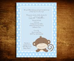monkey baby shower invitation zoo animal baby shower blue