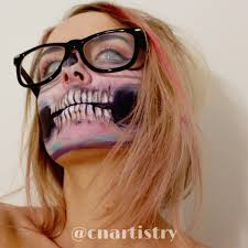 this pastel skull is the perfect halloween costume with just makeup
