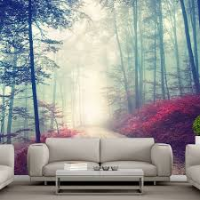living room mural magical red road wall mural misty forest tree wallpaper living