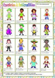 esl kids worksheets countries u0026 nationalities