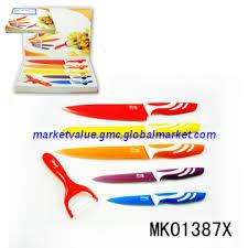 coloured kitchen knives set 5pcs non stick coating kitchen knife set peeler in colour box