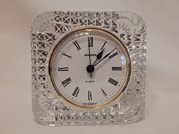 french lead crystal desk clock w saiger clock made in germany