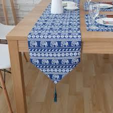 home decor table runner cotton linen vintage blue ethical elephant rustic home decor table