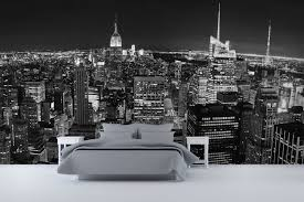 Panoramic New York Wallpaper Wall Mural White Nightstand Grey - Bedroom wall mural ideas