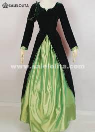 Victorian Dress Halloween Costume 2016 Elegant Vintage Black Green Medieval Renaissance Gothic