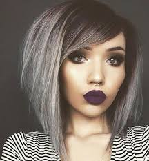 black grey hair black dark fashion grey hair make up piercing style image