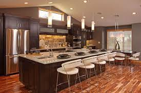 luminious auburn wooden large kitchen cabinet neat brick polished