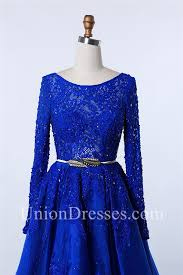 modest bateau neckline long sleeve royal blue organza lace beaded