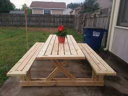 fancy wood picnic table with detached benches diy picnic table