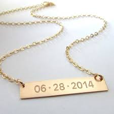 Customized Necklace Gold Bar Necklace Engraved Date Necklace Memory Gold Bar