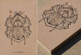 tattooed leather art bug series bug fat bug by punctured