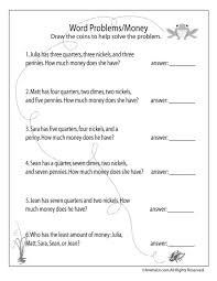 money word problems 2nd grade worksheets worksheets