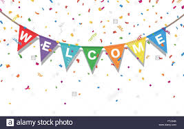 Welcome Flag Bunting Colorful Flags And Confetti With Letters Welcome Stock