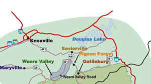 Maryville Tennessee Map by Smoky Mountain Cabin Rentals By Location Southern Living