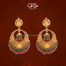 earrings in grt gold antique chandbali earrings from grt south india jewels