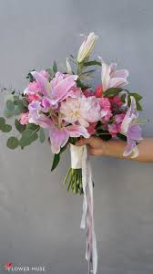bouquet of lilies pink bouquet with peonies and lilies flower muse