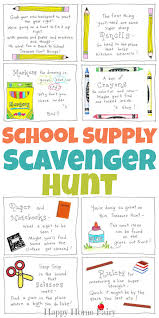 back to supply scavenger hunt free printable happy