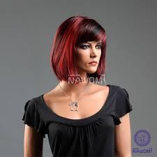 kanekalon side swept bang black u0026 red neck length hairstyle