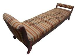 upholstered bench with rolled arms natural fibres export