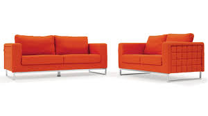 Sofa And Loveseat Sets Modern Orange Fabric Upholstered 2 Piece Sofa Set With Stainless