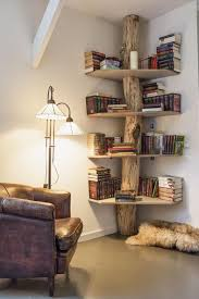 Ceiling To Floor Bookshelves Natural Polished Floor To Ceiling Log Wood Based Bookcase With