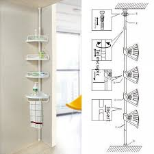 non rust bathroom telescopic corner shelf storage 4 tier shower