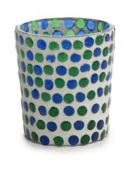 mud pie green and blue dot glass votive belk