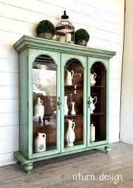 Corner China Cabinet Hutch Curio Cabinet Vintage China Cabinets Hand Painted Furniture
