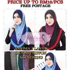 Soft Awning Tudung Sarima Soft Awning 3 Layer Denim Chiffon Muslimah