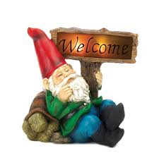 gnome garden statue outdoor solar figurine decor spot welcome