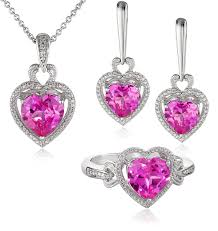 pink sapphire necklace images Sterling silver heart shape created pink sapphire jpg