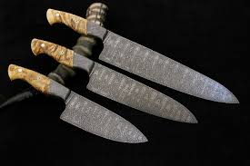 custom kitchen knives set of 3 tsunami damascus custom kitchen knives